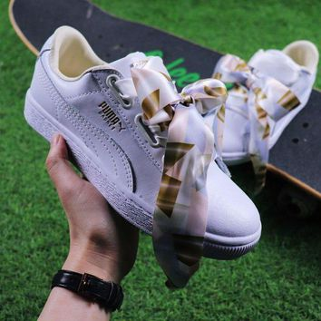 CREYNW6 Sale Puma Suede Heart Trainer Shoes White Gold Casual Shoes Low-Top Sneakers