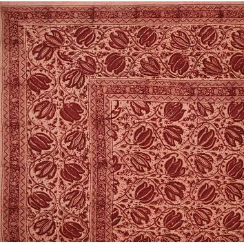 Handmade 100% Cotton Vegetable Dye Natural Hand Block Print Tapestry Tablecloth Red Full