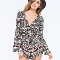 MIMI CHICA Bell Sleeve Womens Surplus Romper | Folk Rocks