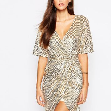 TFNC Kimono Sleeve Sequin Dress with Wrap Skirt