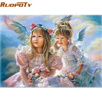 RUOPOTY Angel Girls Wall Art Picture Diy Painting By Numbers Figure Painting Hand Painted Home Decor Unique Gift For Children
