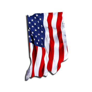 Indiana Waving USA American Flag. Patriotic Vinyl Sticker