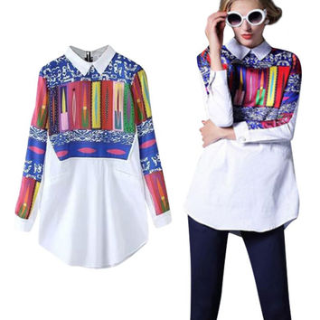 Fall New Fashion Style Women Floral Printed Long Sleeve Chiffon Shirt Blouse Top NW