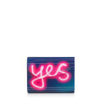 Navy and Raspberry Neon Light Acrylic 'YES' 'NO' Clutch Bag | Candy | Pre Fall 15 | JIMMY CHOO Bags