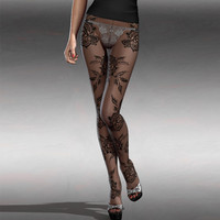 Black Pantyhose Pants Floral Stockings Lace Leggings = 4799410884