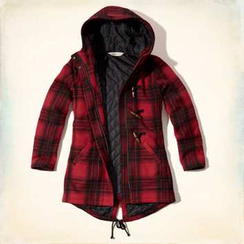Plaid Wool Parka
