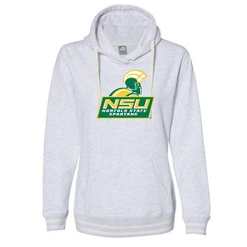 Official NCAA Norfolk State Spartans PPNOR02 Women's Hooded Pullover Sweatshirt with Striped Edges
