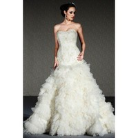 Trumpet / mermaid sleeveless lace floor-length bridal gown