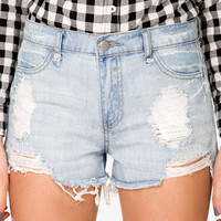 Destroyed Denim Cutoff Shorts