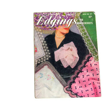 Vintage Clark's Crochet Book Lace Edgings for Handkerchiefs No. 271 1950s How to Booklet