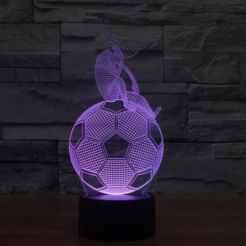 3D Illusion Night Light  LED Light 7 Color with Touch Switch USB Cable Nice Gift Home Office Decorations,Football