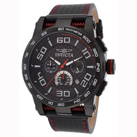 Invicta 15905 Men's S1 Rally Carbon Fiber Black Dial Black IP Steel Black Rubber Strap Chronograph Watch