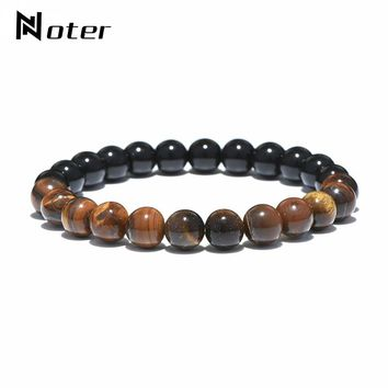 Noter Minimalist Round Beads Bracelet Charms Yin Yang Tiger Eyes Hand Braclet For Men Women Yogo Meditation Jewelry Masculino