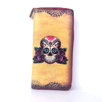 Tattoo Skull Wallet In Yellow/Multi | Thirteen Vintage