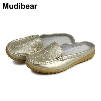 Mudibear Flip Flops For Women Sandals Summer Half Slippers Flip Flops Genuine Leather sandals clogs Shoes Woman Plus Size 35-40
