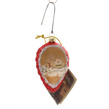 Holiday Ornaments PINECONE INDENT WITH SANTA Glass Vintage Tinsel Lg1751 Red