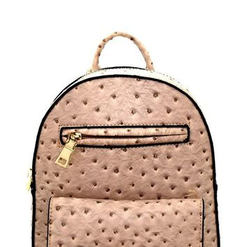 Ostrich Print Embossed Padlock Accent Backpack