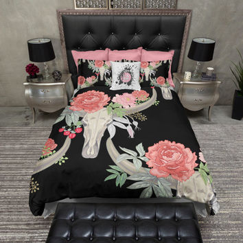 Lightweight Texas Longhorn Skull Bedding - Comforter Cover - Flower Skull Duvet Cover, Texas Skull Bedding