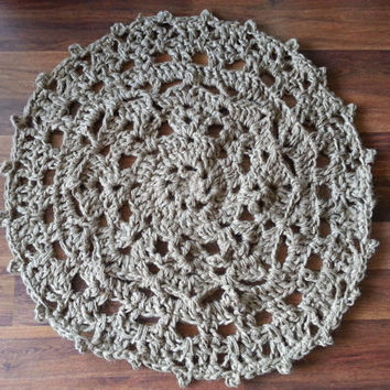 Small Crochet Doily Rug- natural jute- twine- doormat- entry way rug- country floor carpet- front door mat- area rug- throw rug- beige-