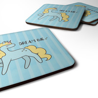Nursery Dream Big Unicorn Foam Coaster Set of 4 BB7471FC