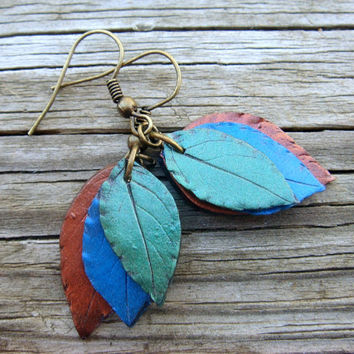 Leaf Earrings  Peacock Colors  Blue Green Copper  by JustClayin