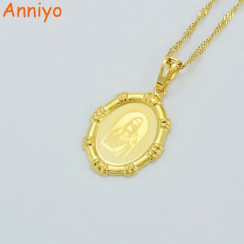 Anniyo Jesus Head Pendant Necklaces for Women's,Gold Color Charm Jesus Portrait Pendant Christian Jewelry God Crucifix #021504