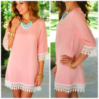 Neverland Pink Crochet Trim Shift Dress