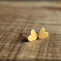 Itty Bitty Heart Earring Studs in Raw Brass, Surgical Steel Posts