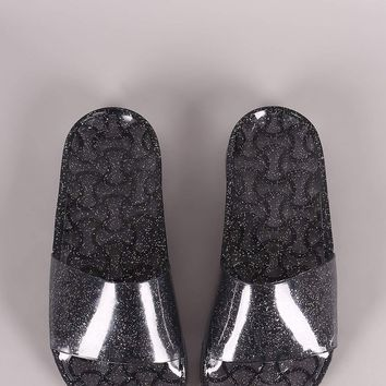 Wild Diva Lounge Glitter Jelly Open Toe Slide Sandal