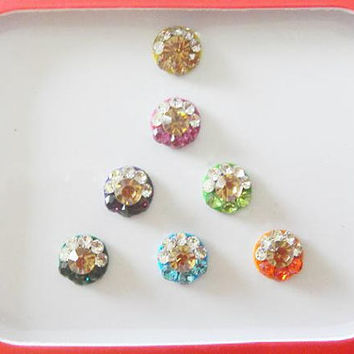 7 Round rhinestone bindi,Colorful bindi,Indian wedding jewelry,Fake nose ring stud,Forhead tikka,Bridal bindi,Bollywood party bindi,Body art
