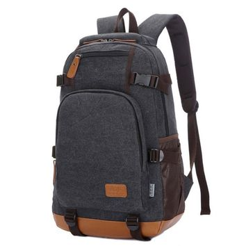 Fashion canvas men's daily travel duffle backpack for laptop Korean style  hipster versatile youth school bag