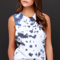 RVCA Label Grey and Blue Tie-Dye Muscle Tee