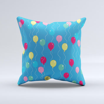 Blue With Colorful Flying Balloons Ink-Fuzed Decorative Throw Pillow