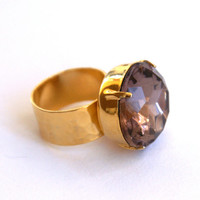 Huge Round Adjustable Ring with Champagne Rhinestone 24K Gold Plated Hammered Wide Band