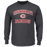 Majestic Cincinnati Reds Heart and Soul Long Sleeve T-Shirt - Charcoal-