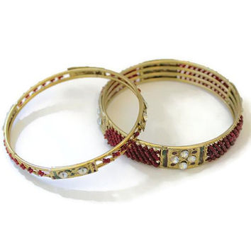 Red Bead And Rhinestone Bollywood Brass Bangle Bracelets, Set Of 2