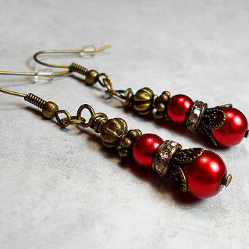 Red Drop Earrings Faux Pearl Beaded Rhinestone Antiqued Brass Vintage Style Dangle Womens Holiday Jewelry Accessories