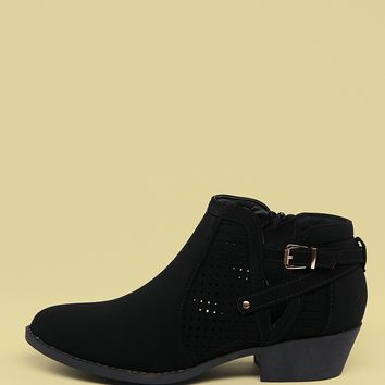 Side Buckle Perforated Low Heel Ankle Booties