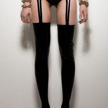 HOUSE OF HARLOT | TORTURE GARDEN RIBBON SUSPENDERS Latex Rubber Garter Belt