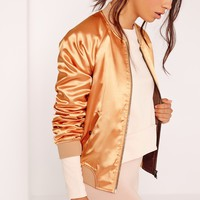 Missguided - Premium Satin Bomber Jacket Gold