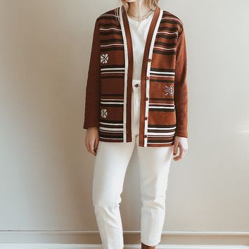 Vintage 1970's Rust Ribbed Cardigan