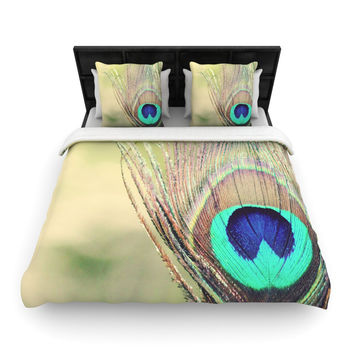 "Beth Engel ""Sun Kissed"" Peacock Feather Woven Duvet Cover"