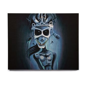"Ivan joh ""Tattoo Girl"" Black Blue Pop Art Fantasy Illustration Painting Birchwood Wall Art"
