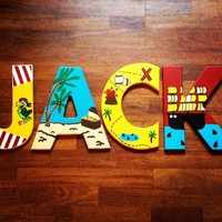 PIRATE INSPIRED HAND PAINTED WOOD WALL LETTERS