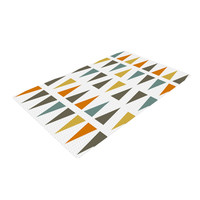 "Pellerina Design ""Stacked Geo"" White Triangles Woven Area Rug"