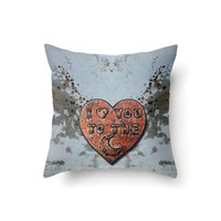 Novelty Pillow Cover, I Love You to the Moon on copper heart, indoor or outdoor throw pillow covers in 16 x 16, 18 x 18 or 20 x 20 inch
