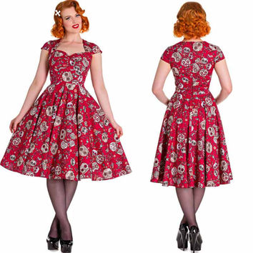 OWIN 2017 Plus Size Dress 4XL Summer Short Sleeve Dress Vintage Ball Gown Flowers Print 50s 60s Style Vestidos Clothing Women