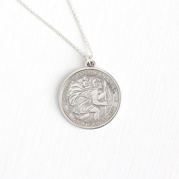 Vintage Sterling Silver St. Christopher Protect Us Pendant Necklace -  Religious Saint Catholic Round Fob Charm on Silver Chain Jewelry