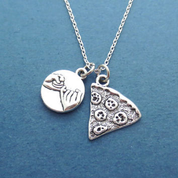 Pinky, Promise, Pizza, Slice, Silver, Necklace, Yummy, Pizza, Jewelry, Pinky promise, Necklace, Friendship, Best friend, Anniversary, Gift
