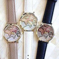 U-beauty Unisex Men Women Lady Girls World Map China Map Leather Watches Quartz Wristwatch (Beige)